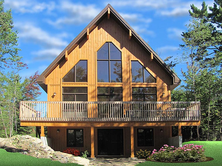 A-Frame Cabin Contemporary Elevation of Plan 76407
