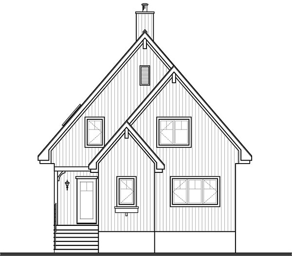 A-Frame Cabin Contemporary Rear Elevation of Plan 76407