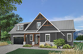 Coastal Contemporary Cottage Traditional House Plan 76408 Elevation