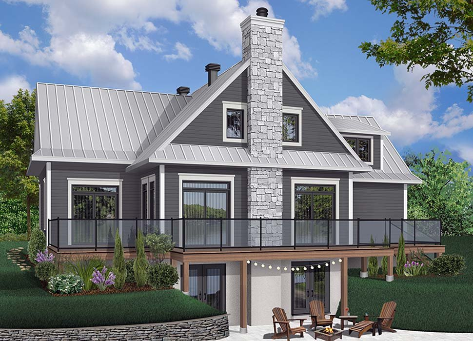 Coastal Contemporary Cottage Traditional House Plan 76408 Rear Elevation