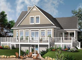 Coastal Country Traditional House Plan 76409 Elevation