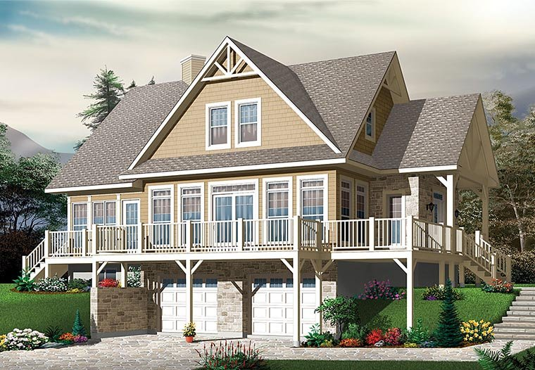 House Plan 76410 | Coastal, Contemporary, Country, Traditional Style House Plan with 2340 Sq Ft, 4 Bed, 3 Bath, 2 Car Garage Elevation