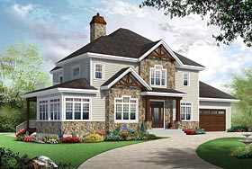 Colonial Country Craftsman Southern House Plan 76414 Elevation