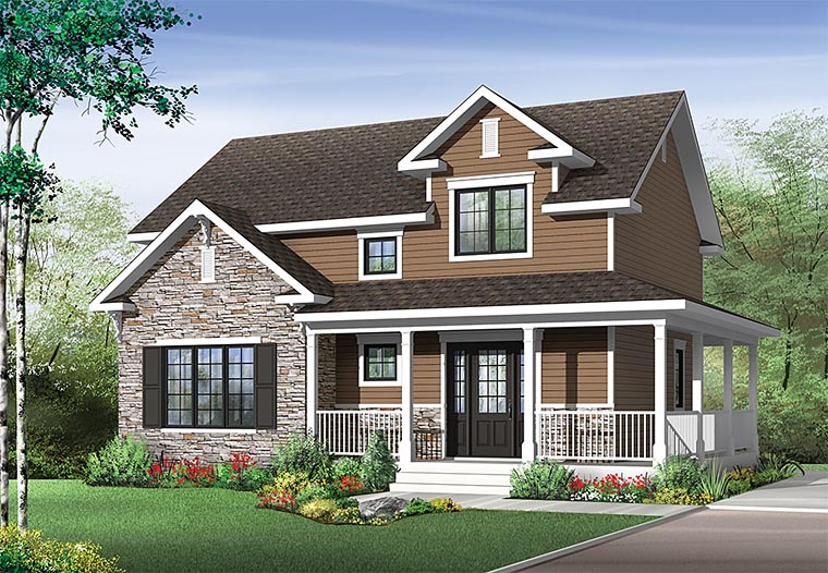 Country Craftsman Farmhouse House Plan 76416 Elevation