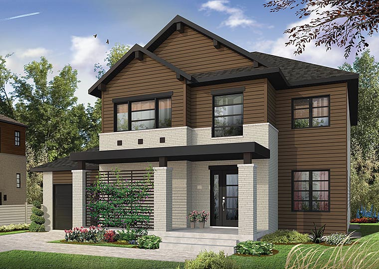 Contemporary Modern Traditional House Plan 76417 Elevation