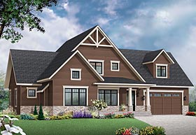 Country Craftsman Tudor House Plan 76422 Elevation