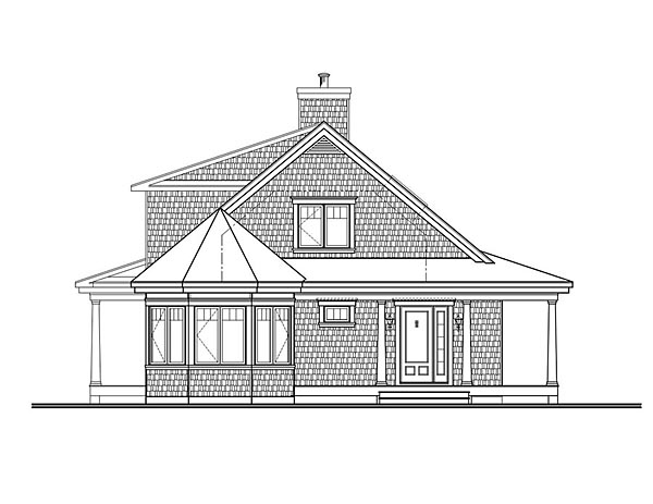 Contemporary, Country, Traditional House Plan 76423 with 4 Beds, 4 Baths Rear Elevation