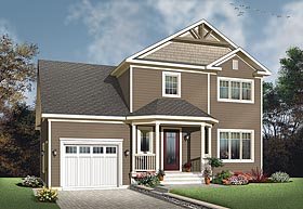 House Plan 76424 | Colonial, Country, Traditional Style House Plan with 1465 Sq Ft, 3 Bed, 3 Bath, 1 Car Garage Elevation