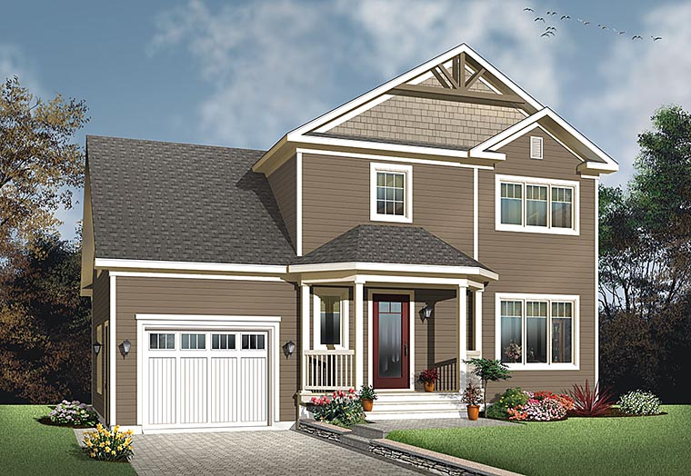 Colonial, Country, Traditional House Plan 76424 with 3 Beds, 3 Baths, 1 Car Garage Elevation