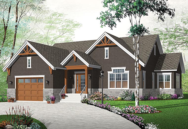 Craftsman, Traditional, Tudor House Plan 76433 with 3 Beds, 3 Baths, 2 Car Garage Elevation