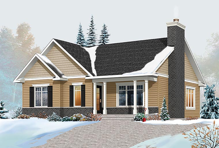 Traditional , Ranch House Plan 76439 with 2 Beds, 1 Baths Elevation
