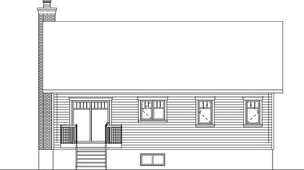 Ranch Traditional Rear Elevation of Plan 76439