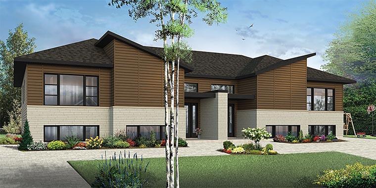 Contemporary Modern Multi-Family Plan 76450 Elevation