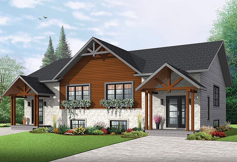 Cottage Country Craftsman Multi-Family Plan 76451 Elevation