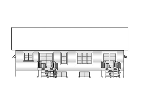 Cottage Country Craftsman Multi-Family Plan 76451 Rear Elevation