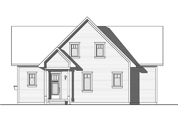 Bungalow , Cottage , Country , Traditional , Rear Elevation of Plan 76453
