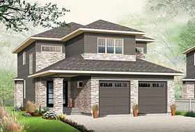 House Plan 76454 | Contemporary Style Plan with 2288 Sq Ft, 4 Bedrooms, 3 Bathrooms, 2 Car Garage Elevation