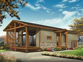Cabin Cottage Country Craftsman Ranch House Plan 76459 Elevation