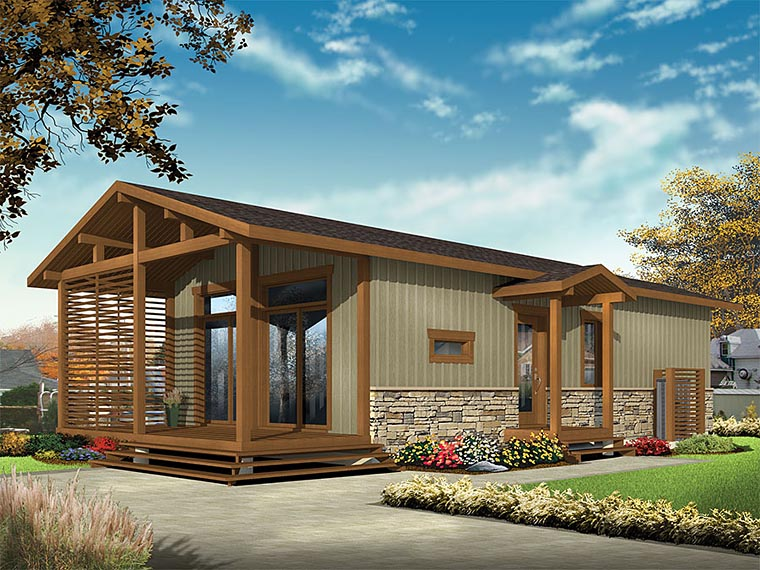 Cabin, Cottage, Country, Craftsman, Ranch House Plan 76459 with 2 Beds, 1 Baths Elevation