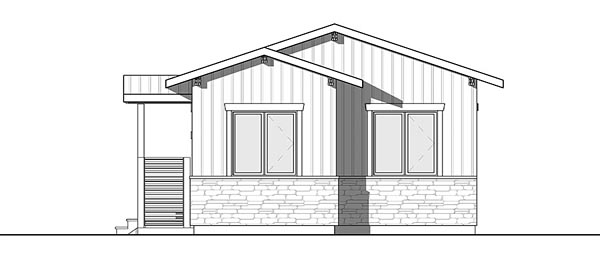 Cabin, Cottage, Country, Craftsman, Ranch House Plan 76459 with 2 Beds, 1 Baths Rear Elevation