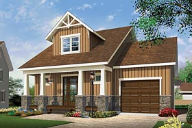 Craftsman , Country , Cottage , Cape Cod House Plan 76462 with 2 Beds, 2 Baths, 1 Car Garage Elevation