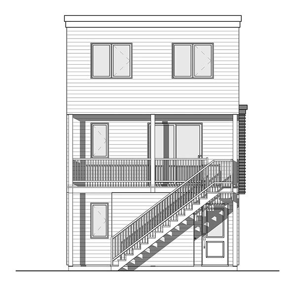 Contemporary Modern Rear Elevation of Plan 76463