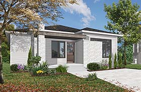 House Plan 76471 | Contemporary Style Plan with 1178 Sq Ft, 1 Bedrooms, 1 Bathrooms Elevation