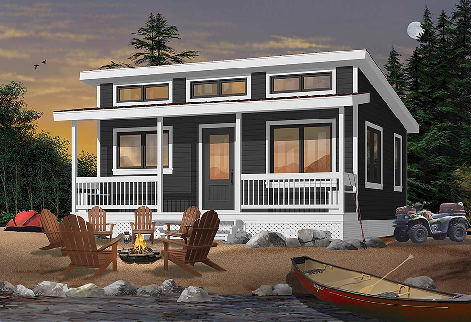 Bungalow, Coastal, Contemporary, Ranch House Plan 76472 with 1 Beds, 1 Baths Elevation