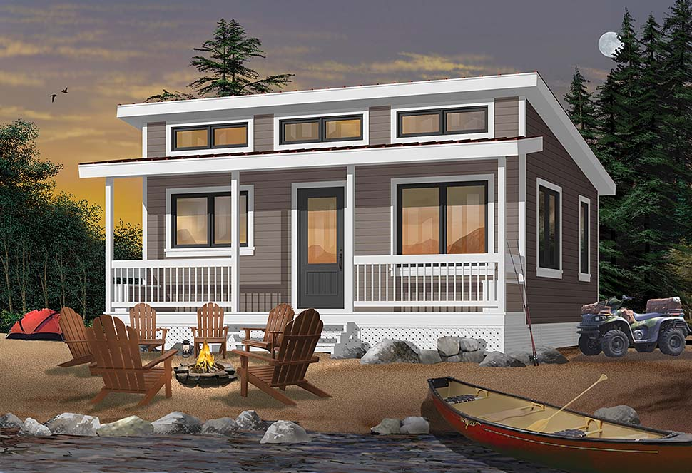 Cabin , Contemporary , Cottage , Country House Plan 76473 with 2 Beds, 1 Baths Elevation