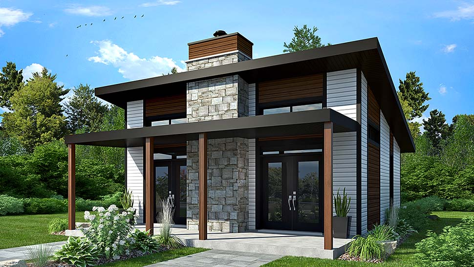 Modern, Contemporary, House Plan 76474 with 2 Beds, 1 Baths Elevation