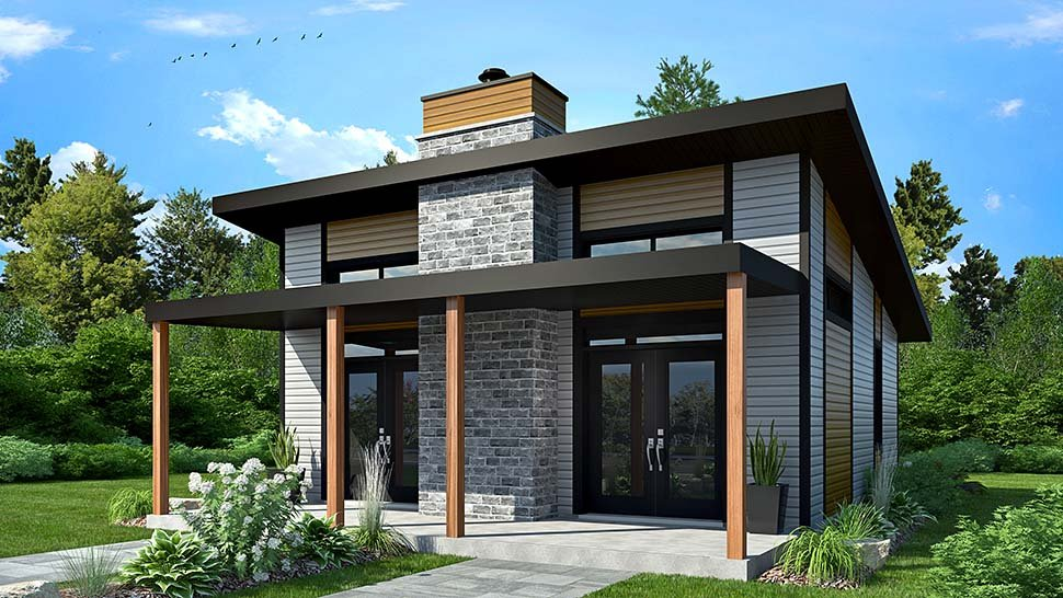 Modern, Contemporary, House Plan 76474 with 2 Beds, 1 Baths