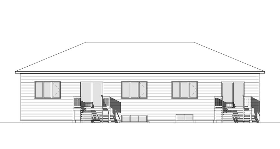 Contemporary Multi-Family Plan 76475 Rear Elevation
