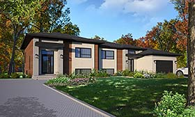 Modern , Contemporary Multi-Family Plan 76477 with 6 Beds, 4 Baths, 1 Car Garage Elevation