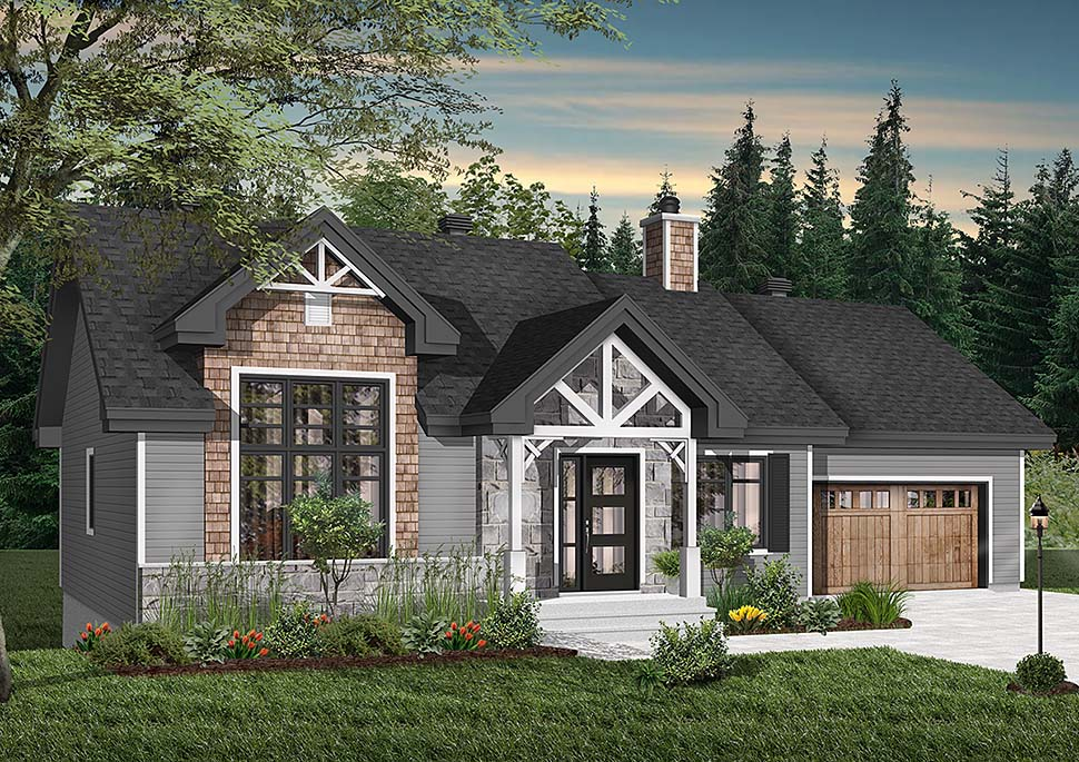 Craftsman, Ranch House Plan 76483 with 2 Beds, 1 Baths, 1 Car Garage Elevation