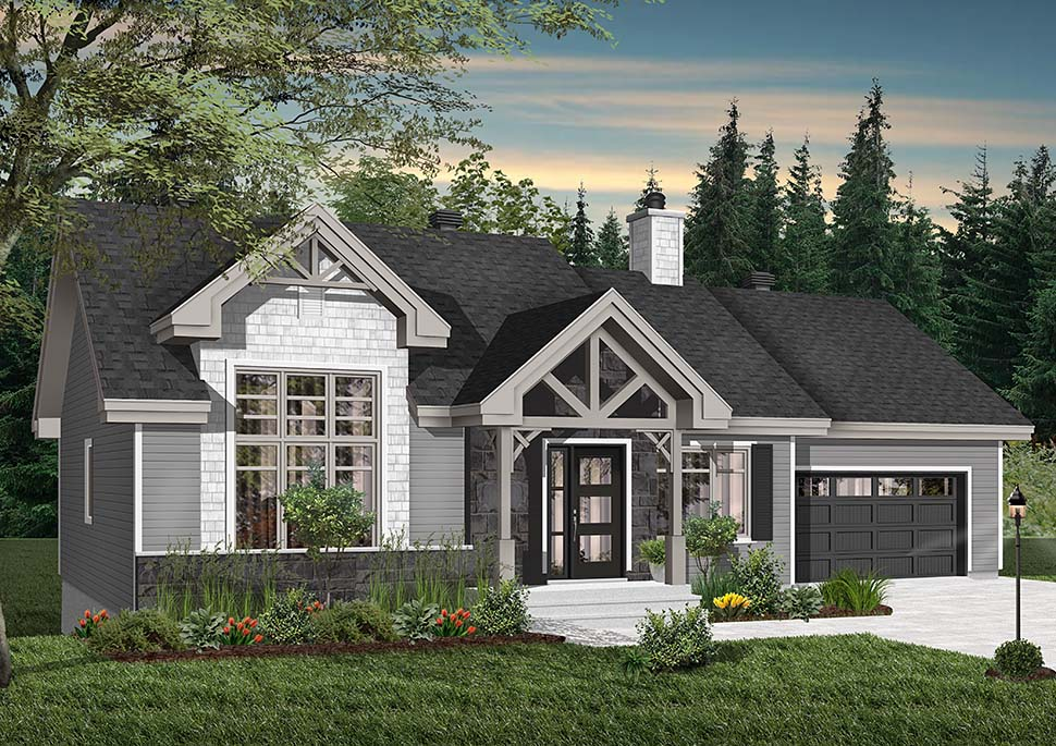 Craftsman, Ranch House Plan 76483 with 2 Beds, 1 Baths, 1 Car Garage Picture 1
