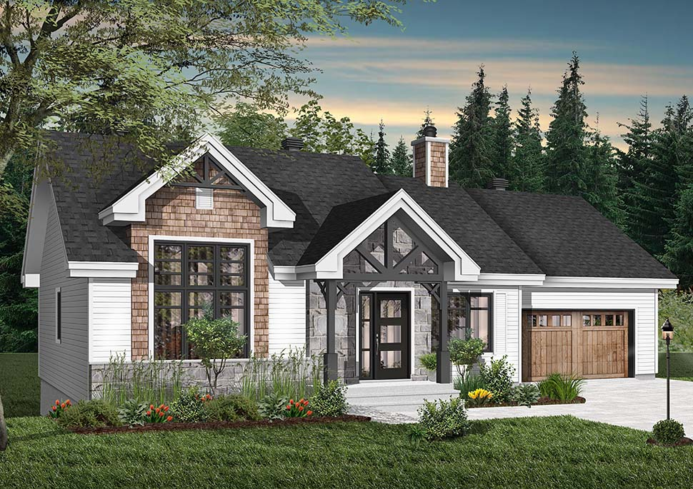 Craftsman, Ranch House Plan 76483 with 2 Beds, 1 Baths, 1 Car Garage Picture 2
