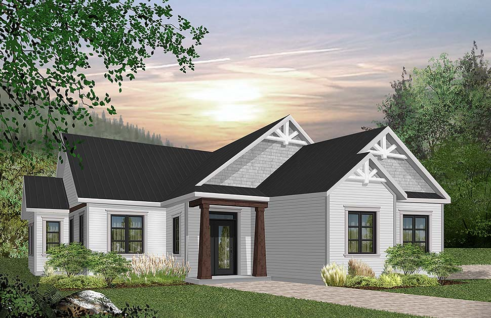 Country, Craftsman, Farmhouse, Ranch, Traditional House Plan 76485 with 3 Beds, 2 Baths, 2 Car Garage Elevation