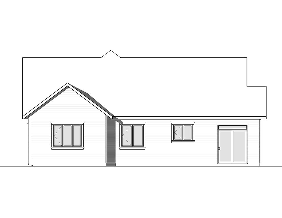 Country Craftsman Farmhouse Ranch Traditional Rear Elevation of Plan 76485