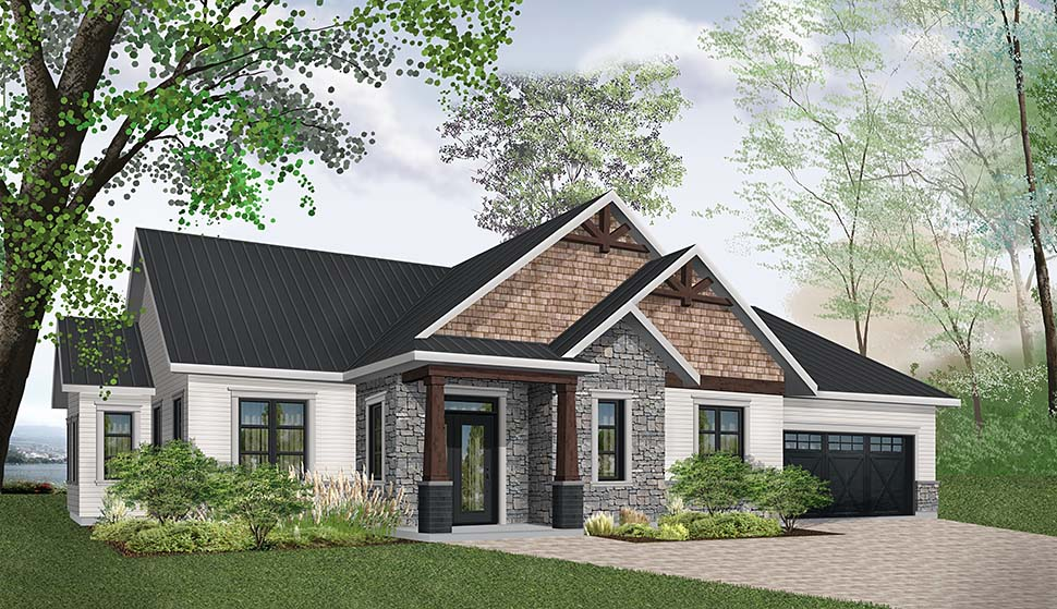 Country, Craftsman, Farmhouse House Plan 76488 with 3 Beds, 2 Baths, 2 Car Garage Picture 1