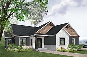 House Plan 76489 | Country Craftsman Farmhouse Style Plan with 1738 Sq Ft, 3 Bed, 2 Bath, 2 Car Garage Elevation