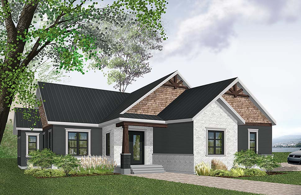 Country Craftsman Farmhouse Elevation of Plan 76489