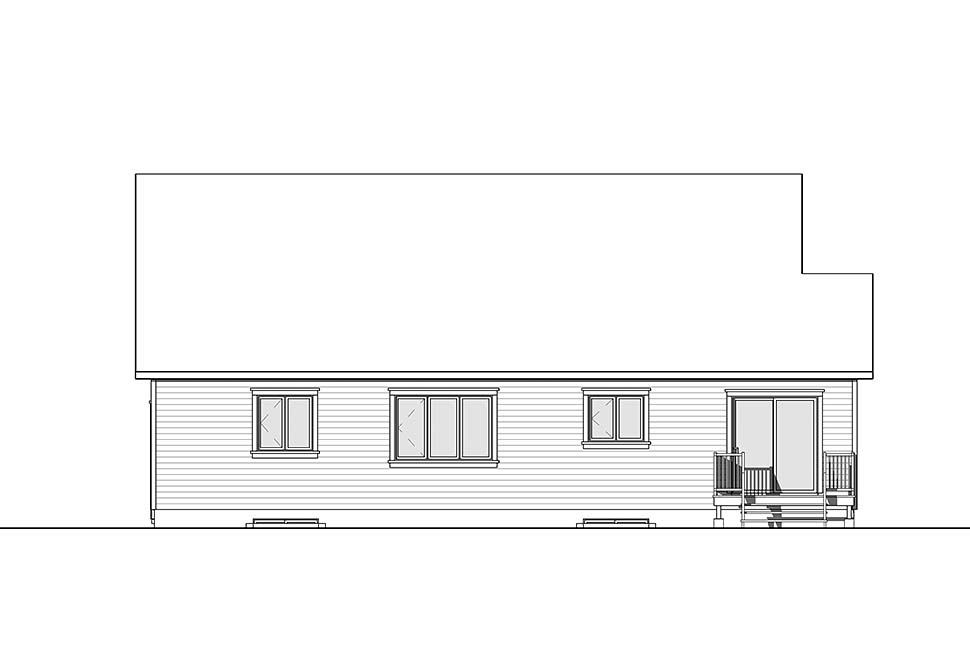 Country Craftsman Farmhouse Rear Elevation of Plan 76489