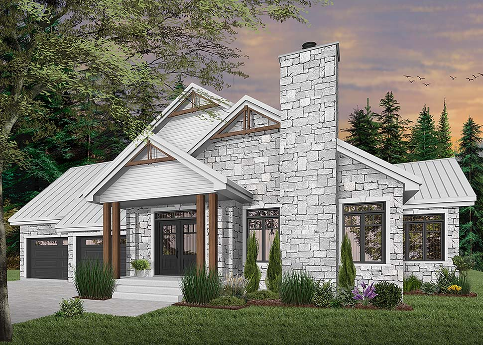 Bungalow , Contemporary , Country , Craftsman , Modern , Ranch House Plan 76490 with 3 Beds, 3 Baths, 2 Car Garage Elevation