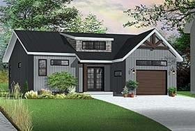 Ranch , Modern , Farmhouse , Craftsman , Country , Contemporary , Cape Cod House Plan 76491 with 2 Beds, 2 Baths, 1 Car Garage Elevation