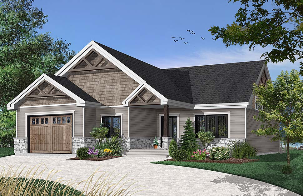 Country Craftsman Farmhouse Modern Ranch House Plan 76492 Elevation