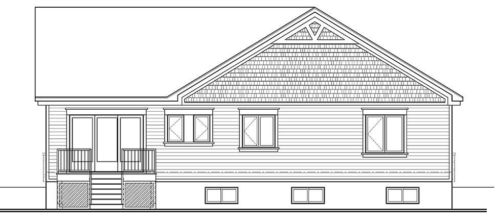 Country Craftsman Farmhouse Modern Ranch House Plan 76492 Rear Elevation