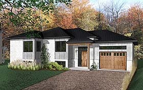 Ranch , Modern , Contemporary House Plan 76493 with 2 Beds, 1 Baths, 1 Car Garage Elevation
