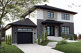Contemporary , Cottage , Modern House Plan 76494 with 3 Beds, 2 Baths, 1 Car Garage Elevation