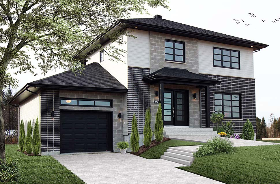 Contemporary , Cottage , Modern , Elevation of Plan 76494