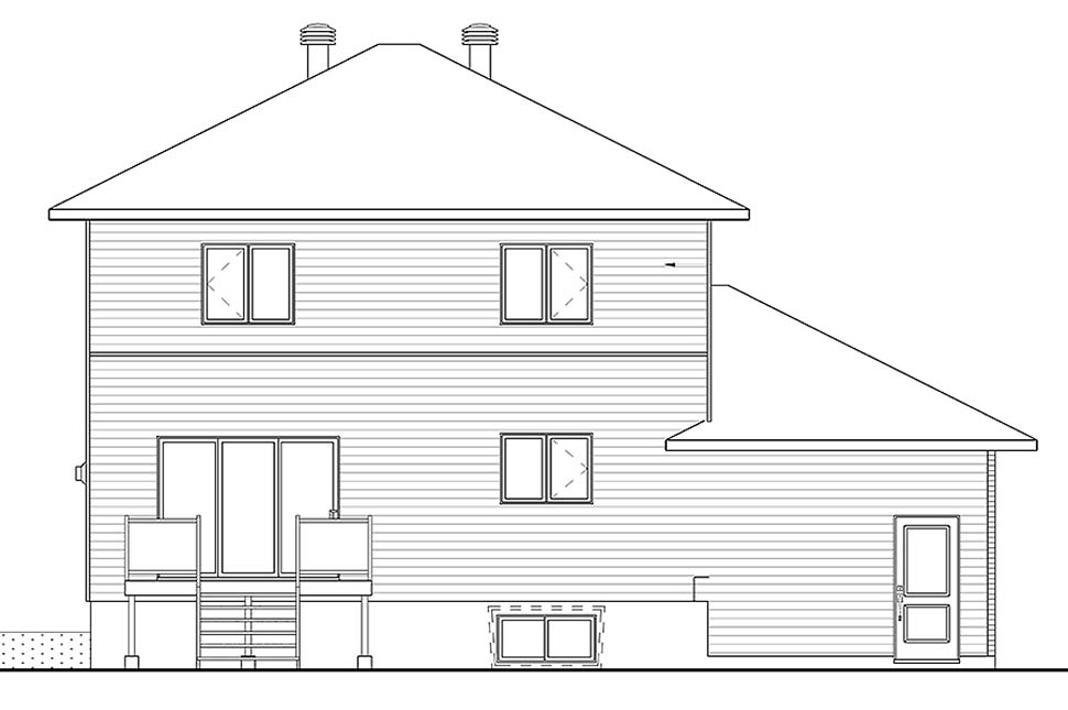 Contemporary , Cottage , Modern , Rear Elevation of Plan 76494